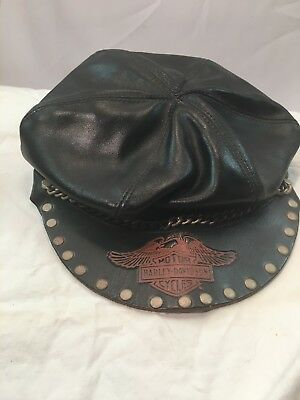Harley Davidson Genuine Leather Cap - Chain Across Front - Grommeted Rim