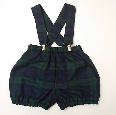 Boys  Tartan Print Baby's Bloomer with braces Boys Christmas clothes New