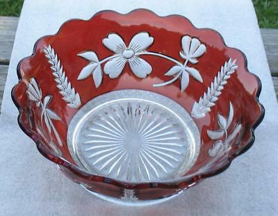 "EAPG CLEAR with RUBY STAIN  ""ART NAVO""  LARGE ROUND DEEP SERVING BOWL"