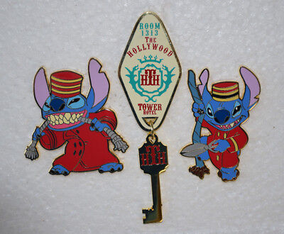 Disney FANTASY Pin Stitch as Tower of Terror Bellhop HTH 3 pc lot Edition 100