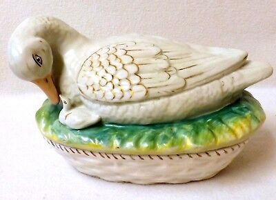 19th Century Staffordshire Pottery Egg Box & Cover Formed as a Duck and Duckling