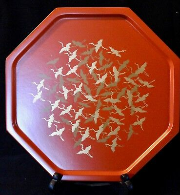 Vintage Japanese Zohiko Lacquer ware tray, Red with Gold Cranes, original box