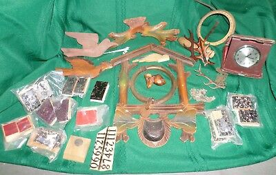 Lots Of Cuckoo Clock Parts Bellow Tops & Carvings & Old Clock!