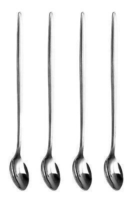 4 x Stainless Steel Long Handle LATTE SPOONS for Glass Ice Cream Sundae Coffee