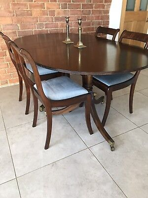 Antique Mahogany Regency Style Dining Table Extender 6 Chairs Upholstery Family