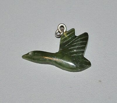 Antique Old Chinese Green Spinach Jade Carved Bird Goose Flying Pendant