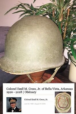 NAMED WW2 World War 2 US ARMY Colonel United States M1 Helmet w/ Hawley Liner