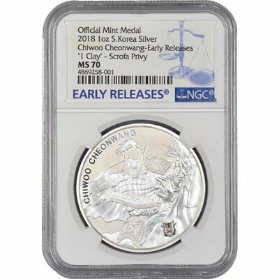2018 South Korea Chiwoo Cheonwang  W/Scofa Privy 1oz Silver NGC MS70 ER BU Coin