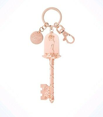 Disney Parks Beauty and the Beast Rose Gold Key Keychain With Charm New Tags
