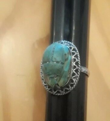 Vintage Antique Sterling Silver Turquoise Carved Scarab Ring Egyptian Hieroglyph