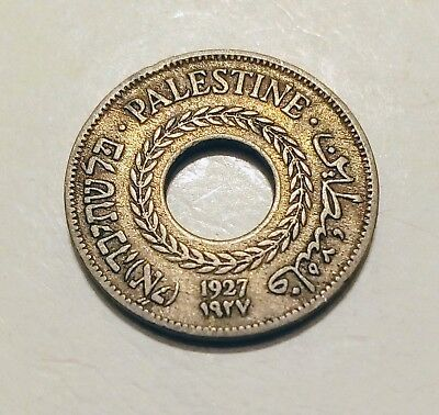 Date: 1927 Palestine 5 Mils - Attractive Palestinian Coin - Very Good Detail