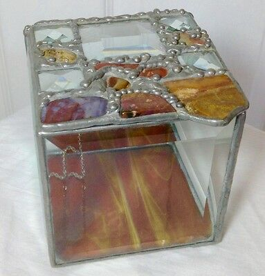 ARTS & CRAFT fantastic  BEVELED STAINED GLASS AND NATURAL STONE BOX SIGNED   USA