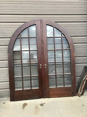AN480 match Pair antique arch top pine French doors 6' x 85.5