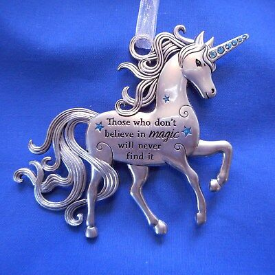 "NEW Pewter Fantasy/Hanging Unicorn by Ganz ""Don't Believe in Magic......"""