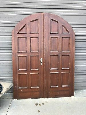 An 482match Pair antique French doors arch top 58.5 x 79