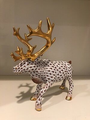 Herend Moose With Gold Antlers And Brown Fishnet Pattern