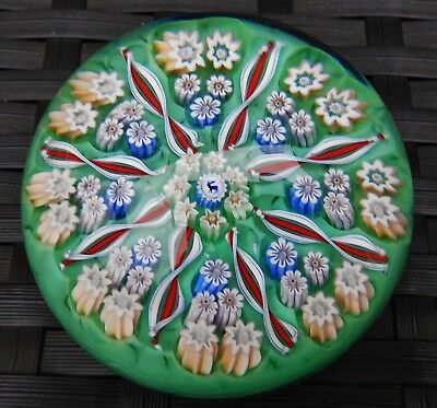 Perthshire John Deacons 8 Spoke Stag Cane Cartwheel Millefiori Paperweight Mint