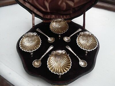 Antique Leather Serpentine Boxed Silver Plated Shell & Dolphin Leg Salts -4