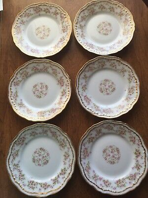 Theodore Haviland Limoges Schleiger (6) Bread Plates Pink Rose Double Gold 6 1/4