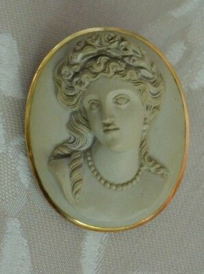 Antique 14 K Gold Lava Cameo in High Relief, Brooch, Pin, Pendant, Victorian