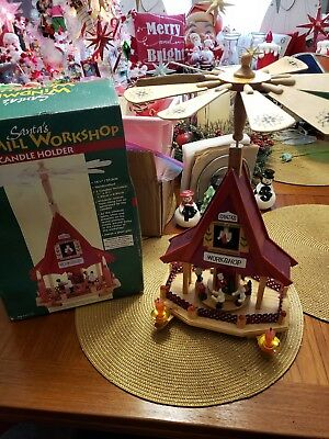 "15"" SANTAS WORKSHOP WINDMILL CAROUSEL CANDLE HOLDER Hand Crafted Christmas Decor"