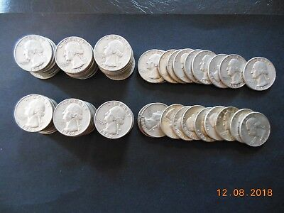 (2)  ROLLS WASHINGTON QUARTERS   1960's ~ 80 COINS  ~ SILVER