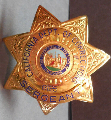 California Sergeant Dept of Corrections Officer Badge #6125