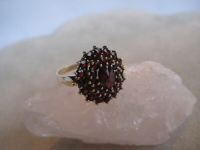 Antiker Granat Ring 925 Silber vergoldet Böhmen 1920, antique garnet silver ring