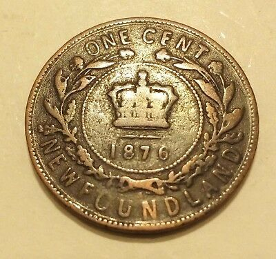 1876 Newfoundland Canada 1 Cent - Canada Large Cent - Head of Queen Victoria
