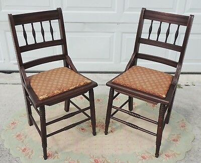 Pair Antique/Vintage Solid Mahogany Cane Seat Dining Side Accent Chairs #5180