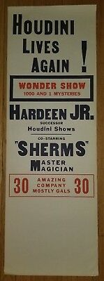 HOUDINI LIVES AGAIN! Hardeen Jr. Co-Starring Sherms Master magician Poster