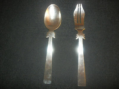 """William Spratling Mexican Mexico Sterling Silver  9 3/4"""" Fork & 9 1/2"""" Spoon EUC"""
