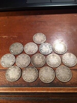 Canadian 92.5 Sterling Junk Silver 1913 1918 1919 14 Quarters T/W of 79.4 grams