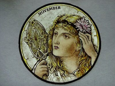 Beautiful Stained glass.NOVEMBER.Hand painted. Kiln fired. Diameter -190mm.
