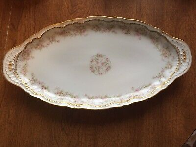 "Theodore Haviland Limoges Schleiger 13 x 7"" Platter Pink Rose Double Gold"
