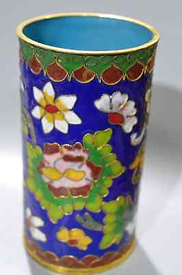 Chinese Hand Cloisonne Carve Blooming Flower Royal Auspicious Usable Brush Pot