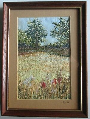 Vintage Miniature Framed Embroidery / Crewel Art - Countryside Scene - Framed