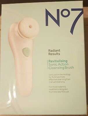 RRP £30 BNIB No7 Radiant Results Revitalising Sonic Action Cleansing Brush