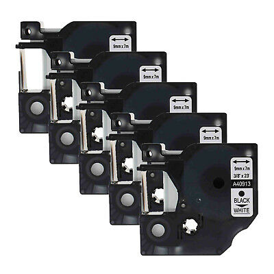 """5PK 40913 Black on White Label Tape for DYMO D1 LabelManager 260P 300 9mm 3/8"""""""