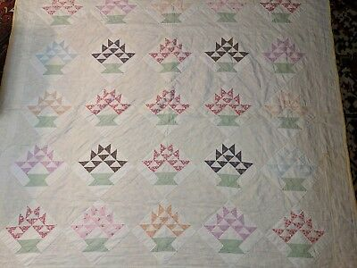Antique Flower Basket Quilt Patchwork Handstitched Cotton