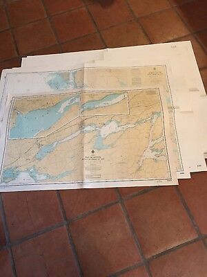 Lot Of 5 Vintage Nautical Charts Mostly Canadian