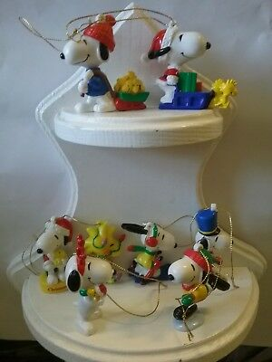 8 Peanuts Snoopy Woodstock United Feature Syndicate PVC Ornaments Free S&H