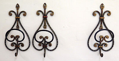 Coat Hangers Wall A 3 Hooks Individual Wrought Iron Painting Vintage Ch11