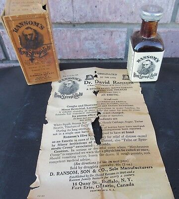 Vintage Quack Medicine Bottle Ransom's Hive Syrup In Box with Insert