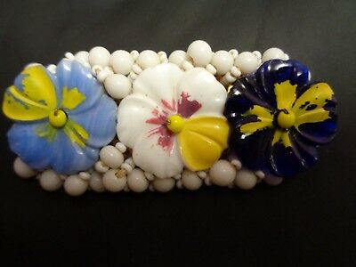 Vintage Antique White Milk GLASS Hand Painted Violet FLOWERS Beaded  Pin