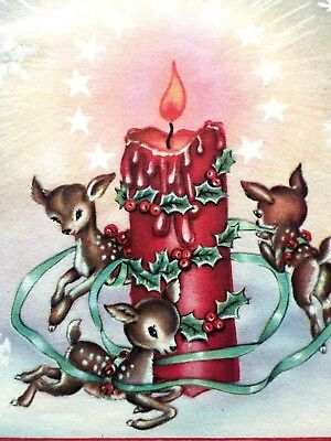 Angels Actn Vtg Xmas Mcm Fawn Deer Around Red Holly Star Candle Snowflakes 40S