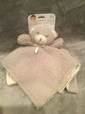 NEW Blankets & and Beyond Grey Bear Baby Blanket Fuzzy Sherpa Security Lovey