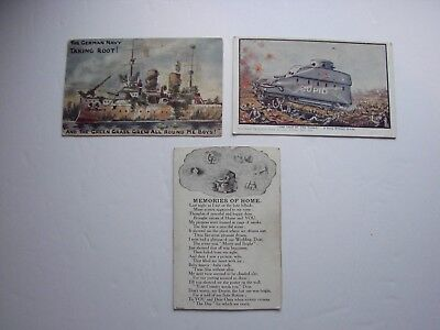 British / Canadian WW1 Military Post Cards, Lot of Three