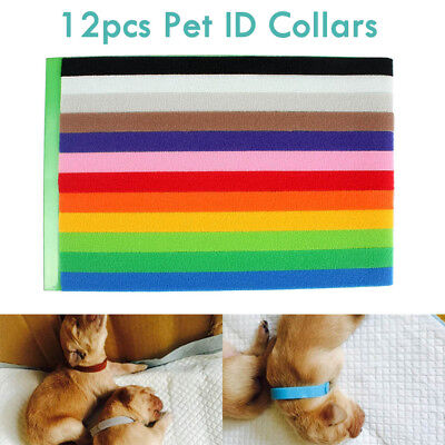 12 Colours Whelping ID Collar Bands Pet Puppy Kitten Identification Tags Band