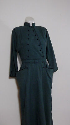 Vintage 40s green double breasted wool dress exaggerated pockets ball button VTG